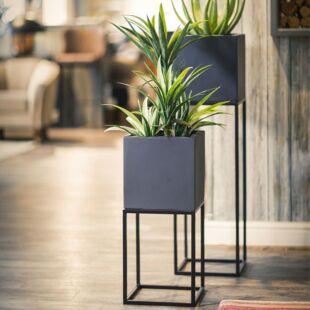 Ferro Cendre Floor Planters -  Set Of Two