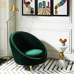 CONTEMPORÁNEO GREEN VELVET OCCASIONAL CHAIR