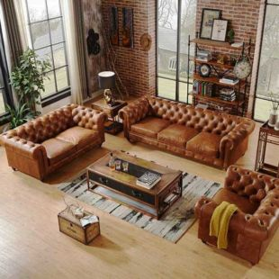 MARRÓN 2-SEATER FAUX LEATHER SOFA