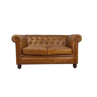 COURO TUFTED CHESTERFIELED 3 SEATED SOFA, LEATHER