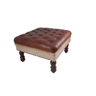 BUTTON TUFTED POUFFE BENCH, LEATHER