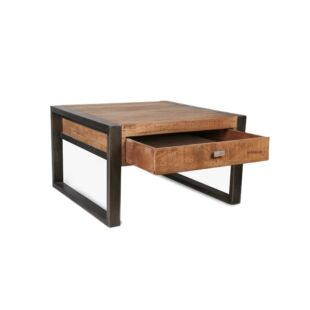 WOODEN END TABLE WITH SS FRAME, BROWN