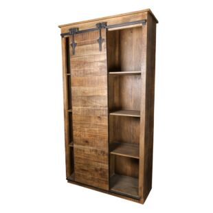 VINTAGE RUSTIC WOOD WARDROBE WITH ROLLING DOOR