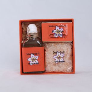 FRANGIPANI GIFT SET - MASSAGE OIL, HANDMADE SOAP & BATH SALT