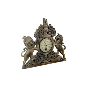 Vintage Hand Carved Wooden United Kingdom Royal Coat of Arms Pendulum Wall Clock