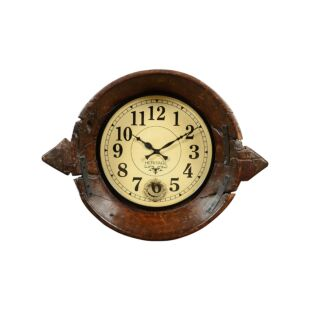 Upcycled Antique Parat Bowl Wall Clock with Pendulum