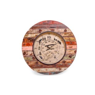 RECYCLED LISTRAS MULTI COLOR WOODEN WALL CLOCK
