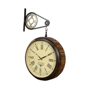 HUDSON RECLAIMED WOODEN RAILWAY SLEEPER DOUBLE SIDED HANGING CLOCK