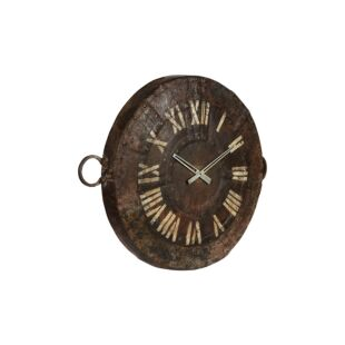 Upcycled Old Rustic Iron Kadai Cooking Pot Wall Clock
