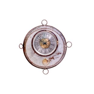 Upcycled Antique Iron Cooking Bowl Pendulum Wall Clock