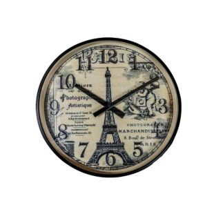 Vintage Round Iron & Glass Parisian Side Table Clock BLACK FINISH