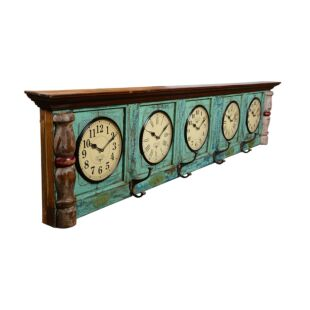 Recycled old door world time clock