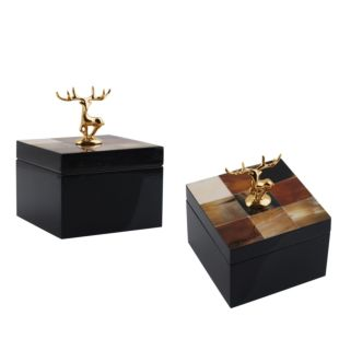 SQUARE GARNET BOX WITH DEER HANDLE