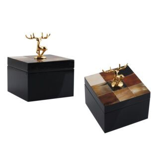 SQUARE APPLEY BOX WITH DEER HANDLE