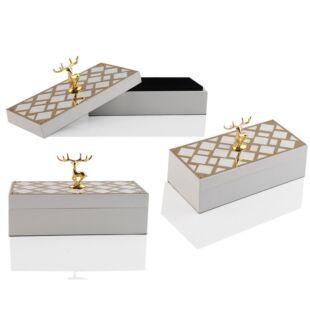 DEER HANDLED RECTANGULAR BOX