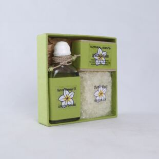 LEMON GRASS GIFT SET- MASSAGE OIL, HANDMADE SOAP & BATH SALT