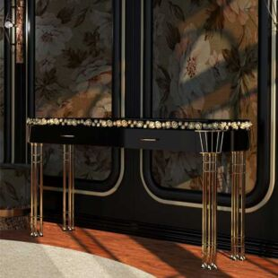 TROIS ONYX JAMBES PAIRES CONSOLE TABLE