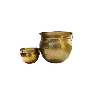 Ferro Hammered Planters Set With Handle