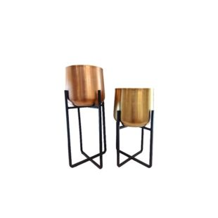 Ferro Zoloto Planters With Stand - Set Of Two