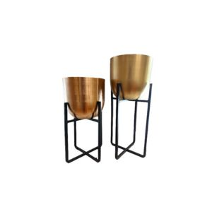 Ferro Laiton Planters With Stand - Set Of Two