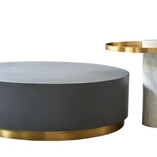 BLACK DIAMANTE TROMBONE NESTING COFFEE TABLE