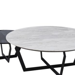 BLACK DIAMANTE DOVE NESTING COFFEE TABLES
