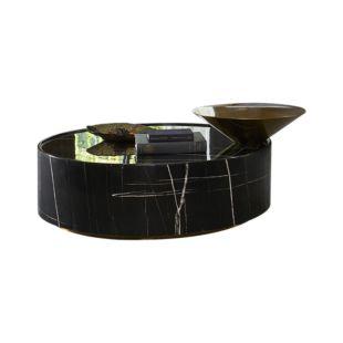 BLACK DIAMANTE PEWTER COFFEE TABLES