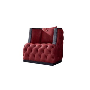 ADELIA BRILLIANT RED HANCOCK LEATHER SOFA